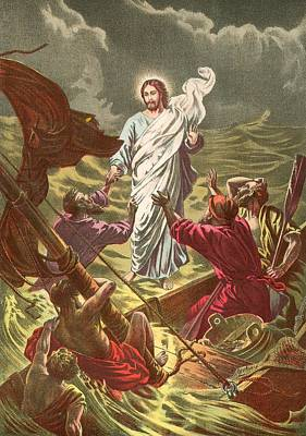 Jesus Walking On The Water Poster by Anonymous