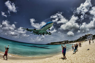 Jet Landing Over Maho Beach Poster by Sven Brogren