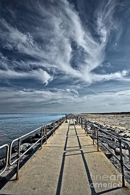 Jetty At Barnegat Lighthouse Poster by Tom Gari Gallery-Three-Photography