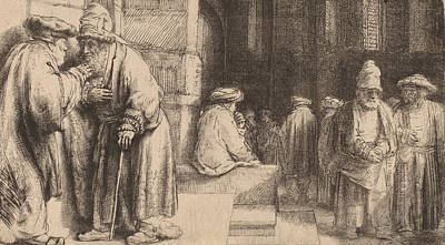 Jews In The Synagogue Poster by Rembrandt