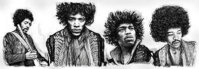 Jimi Hendrix Art Drawing Sketch Poster  Poster by Kim Wang
