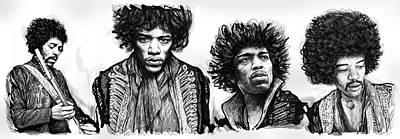 Jimi Hendrix Art Drawing Sketch Poster  Poster by Kim Wang