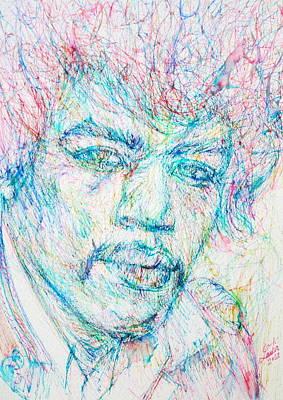 Jimi Hendrix - Colored Pens Portrait Poster by Fabrizio Cassetta