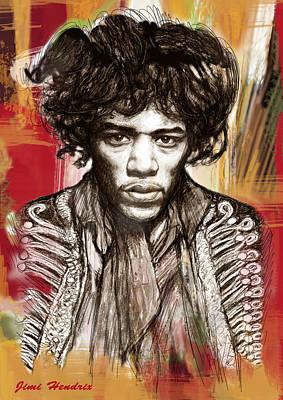 Jimi Hendrix Stylised Pop Art Drawing Potrait Poster Poster by Kim Wang