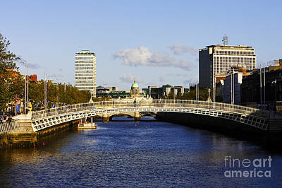 Joe Fox Fine Art - Hapenny Liffey Bridge Over The River Liffey In Central Dublin Ireland Poster by Joe Fox