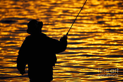 Joe Fox Fine Art - Man Fly Fishing On An Irish Lake At Sunset Poster by Joe Fox