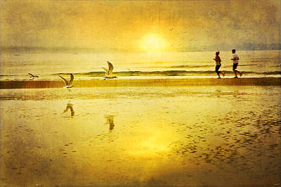 Jogging On Beach With Gulls Poster by Theresa Tahara