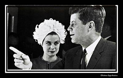 John F Kennedy And Princess Grace Of Monaco Poster by Audreen Gieger-Hawkins