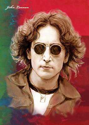 John Lennon Art Stylised Drawing Sketch Poster Poster by Kim Wang