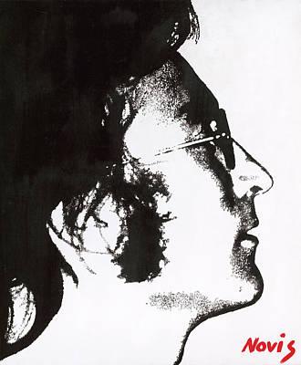 John Lennon Bw Poster by Barry Novis