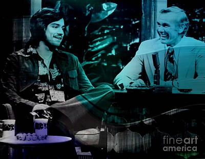 Johnny Carson And Freddie Prince Jr Poster by Marvin Blaine