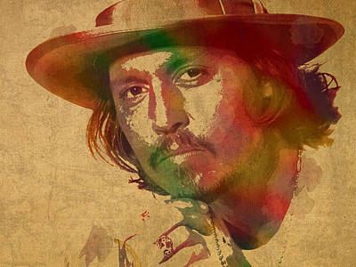 Johnny Depp Watercolor Portrait On Worn Distressed Canvas Poster by Design Turnpike