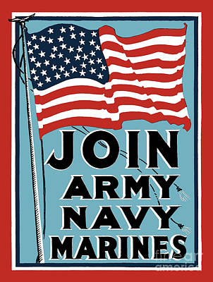 Join Army Navy Marines Poster by God and Country Prints