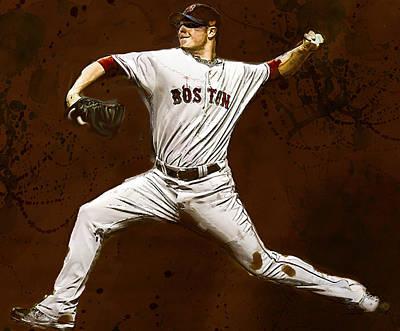 Jon Lester Former Boston Red Sox Poster by Dennis Wickerink