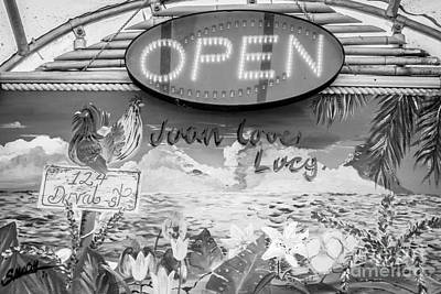 Juan Loves Lucy Key West - Black And White Poster by Ian Monk