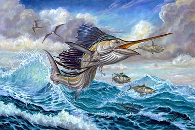 Jumping Sailfish And Small Fish Poster by Terry Fox