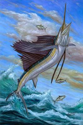 Jumping Sailfish Poster by Terry Fox