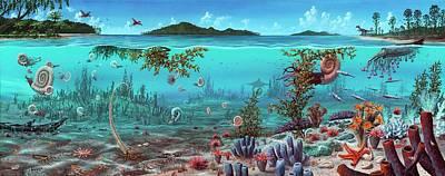 Jurassic Heteromorph Ammonites Poster by Richard Bizley
