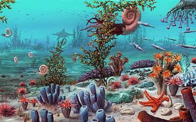 Jurassic Underwater Scene Poster by Richard Bizley