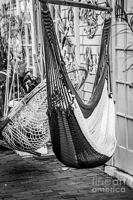 Just Lazin - Hammocks Key West - Black And White Poster by Ian Monk