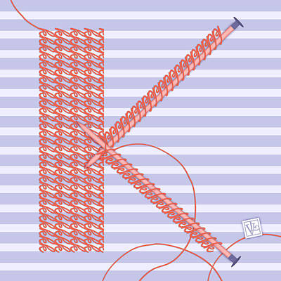 K Is For Knitters And Knitting Poster by Valerie Drake Lesiak
