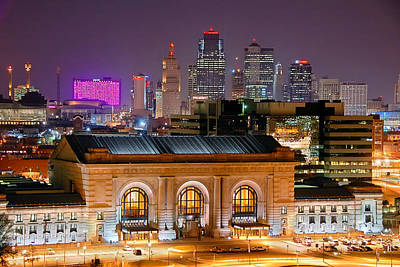 Kansas City Skyline At Night Kc Downtown Color Panorama Poster by Jon Holiday
