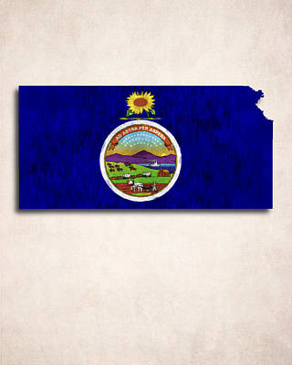 Kansas Map Art With Flag Design Poster by World Art Prints And Designs