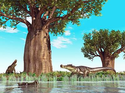 Kaprosuchus Prehistoric Crocodiles Poster by Walter Myers