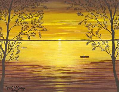 Kayaks In Golden Sunset Poster by Cyndi Kingsley