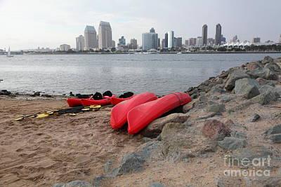 Kayaks On Coronado Island Overlooking The San Diego Skyline 5d24368 Poster by Wingsdomain Art and Photography