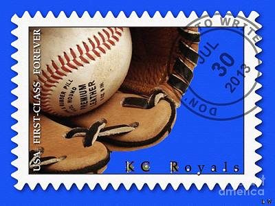 Kc Royals Postage Stamp Poster Poster by Liane Wright