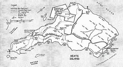 Keats Island Map - Canadian Island  Poster by Sharon Cummings