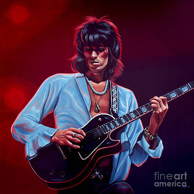 Forty Poster featuring the painting Keith Richards The Riffmaster by Paul Meijering