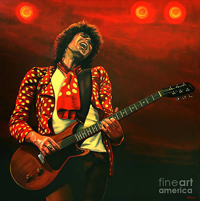 Forty Poster featuring the painting Keith Richards Painting by Paul Meijering