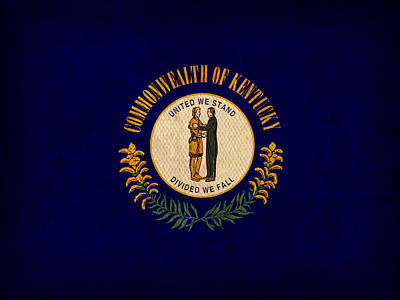 Kentucky State Flag Art On Worn Canvas Poster by Design Turnpike