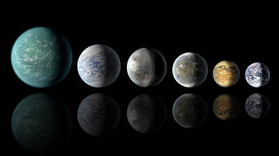 Kepler Exoplanets And Earth Poster by Nasa/ames/jpl-caltech