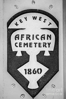 Key West African Cemetery 3 - Key West - Black And White Poster by Ian Monk