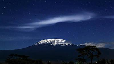 Kilimanjaro In Moonlight Poster by Babak Tafreshi