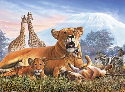 Kilimanjaro Lions Poster by Steve Crisp