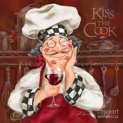 Kiss The Cook Poster by Shari Warren