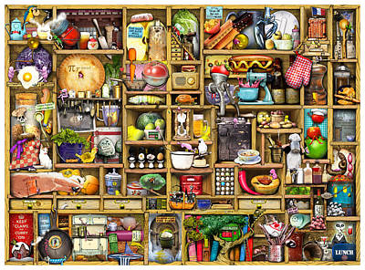 Kitchen Cupboard Poster by Colin Thompson