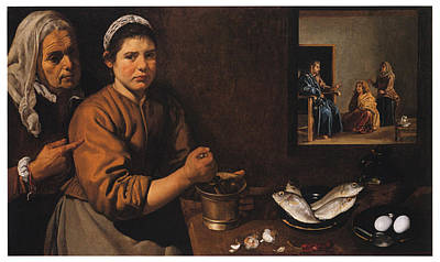 Kitchen Scene With Christ In The House Of Martha And Mary Poster by Diego Velazquez