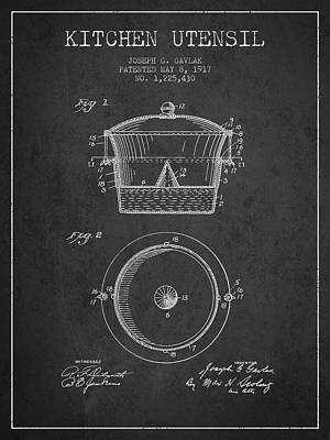 Kitchen Utensil Patent From 1917 - Dark Poster by Aged Pixel