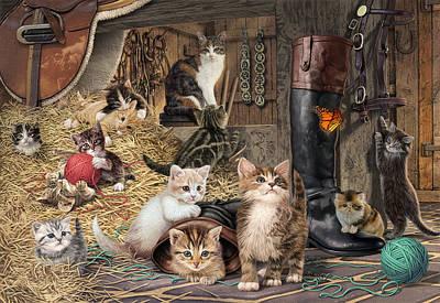 Kitten Capers Poster by Steve Read
