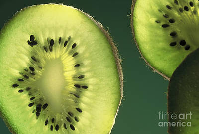 Kiwi Slices On Green Poster by Leah McDaniel
