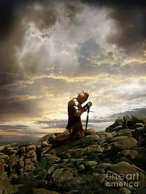 Kneeling Knight Poster by Jill Battaglia