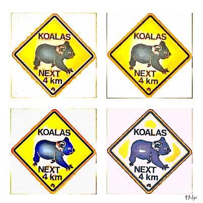 Koalas Road Sign Pop Art Poster by HELGE Art Gallery
