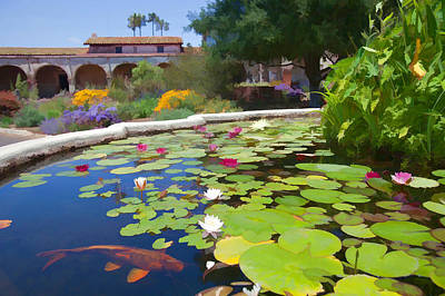 Koi Pond In California Mission Poster by Cliff Wassmann