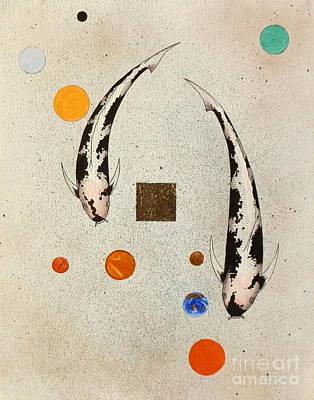 Koi Universe Utsuri Mono Painting Poster by Gordon Lavender
