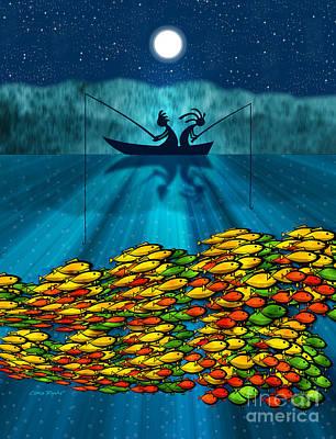 Kokopelli Fishing Poster by Chris Rhynas
